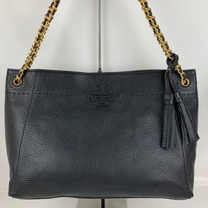 New Tory Burch McGraw Slouchy Black Leather Tote